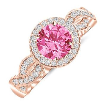 CERTIFIED | 1.3 Carat 14K White Gold Twisting Eternity Halo Style with Milgrain Diamond Engagement Ring with a 1 Carat Natural Pink Sapphire Center (Heirloom Quality) (Yellow, White, Rose)