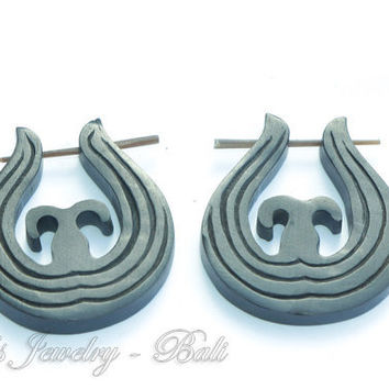 20ga Ethnic Carved Tribal Stick Posts Horn Earrings, Solid Medium Size Black Horn Post Earrings