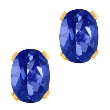 1.90 Ct Oval Shape Royal Blue Mystic Topaz Yellow Gold Brass Stud Earrings