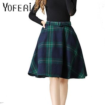 YOFEAI 2018 NEW Plaid Skirt Women Long A-Line Skirt Fashion Wool Plaid Women's Skirts casual Vintage