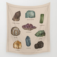 Gems and Minerals Wall Tapestry by Jessica Roux