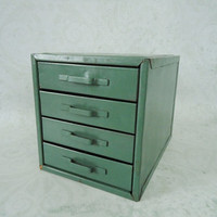 Industrial Green Small Parts Storage Chest - Industrial Metal Tool Storage - Desk Top Storage