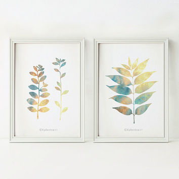 Set of 2 prints, 5x7 prints, Kitchen print set, 5x7 PRINTABLE wall art prints, Home decor botanical print set, Nature art Leaves wall decor