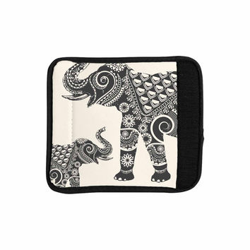 "Famenxt ""Ornate Indian Elephant-Boho"" Black Beige Luggage Handle Wrap"