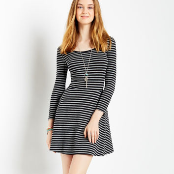Aeropostale  Womens Long Sleeve Striped Dress - Black, X-Small