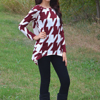 Burgundy and White Loose Fit Houndstooth Knit Top