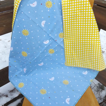 Suns and Moons Flannel Receiving or Swaddling Blanket, Double Layer, 2 Layer Serged Blanket, New Design, Crib or Stroller Blanket