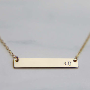 Roman Numeral  Gold Bar Necklace/ Customized Date Necklace/ Name Plate Necklace/ Wedding Date Necklace