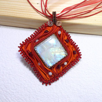 Rainbow Moonstone Summer Pendant Necklace, Copper Wire Wrapped Jewelry with Bead Embroidery and Shibory Silk, OOAK