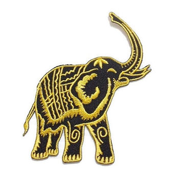 Yellow Elephant Black Patch Animal New Sew / Iron On Patch Embroidered Applique Size 8.4cm.x10cm.