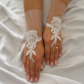 Ivory Lace Handmade Short OOAK Fingerless Wedding Gloves With Plain Layer of Lace and Silk Ribbons