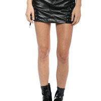 Brooklyn Karma Lace Up Faux Leather Skirt