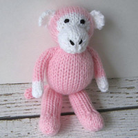 "Hand Knit Little Pink Monkey - Ready To Ship - Small Stuffed Animal Baby Girl Gift - Knit Toy Stuffed Monkey - Child Toy Monkey 6 3/4"" Tall"