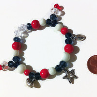 Red White and Blue Charm Bracelet, Football Charm Bracelet, football charms, Navy and Red, New England Patriots, cheer bracelets, beaded