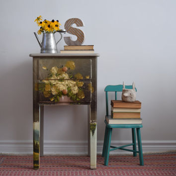 Floral Night Stand - RESERVED