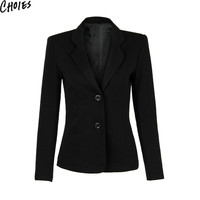Women Black Lapel Long Sleeve Pocket Slim Back Split Brief  Blazer Single Breasted 2016 Fashion OL Formal Plus Size Clothing