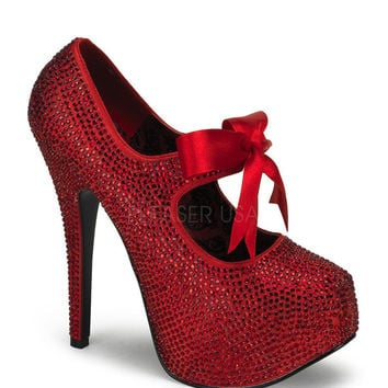 Bordello Teeze Red Rhinestone Stiletto Platforms