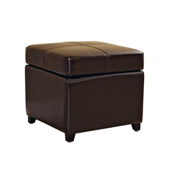 Baxton Studio Dark Brown Full Leather Storage Cube Ottoman Set of 1