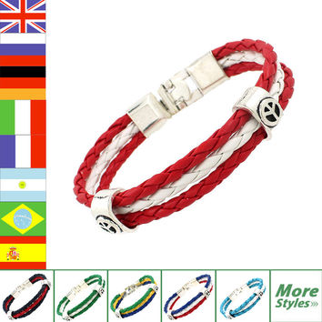World Cup National Flags 3 Strands Braided Surfer Leather Bracelets Fashion Men/Women Jewelry