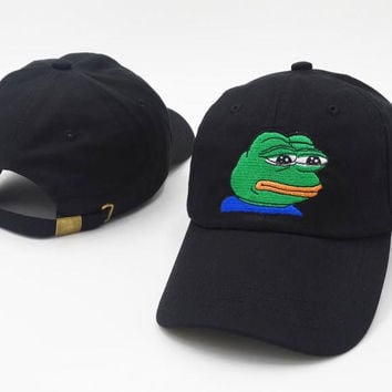 Black Sad Meme Frog Baseball Golf Cap