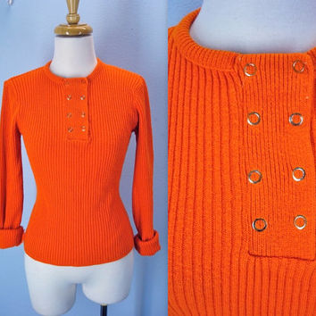 vintage 70s sweater . bright orange jumper . 1970 skinny fit sweater . small