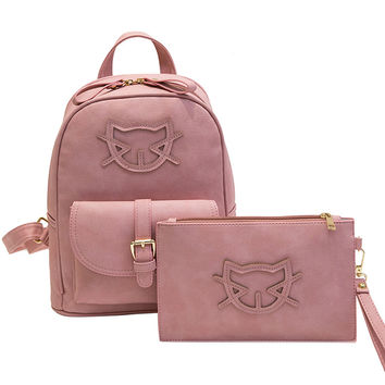 2017 PU Leather Fashion Bag Cute Backpack Women Designer Bag Cat Cotton School Bags For Teenagers Backpacks Girls Hello Kitty
