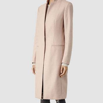 Womens Nehru Coat (Dusty Pink) | ALLSAINTS.com