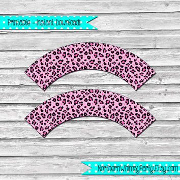 Printable Pink Cheetah Print Cupcake Wrapper Set – DIY printable party supplies - wild animal print –  pink jungle theme - INSTANT DOWNLOAD