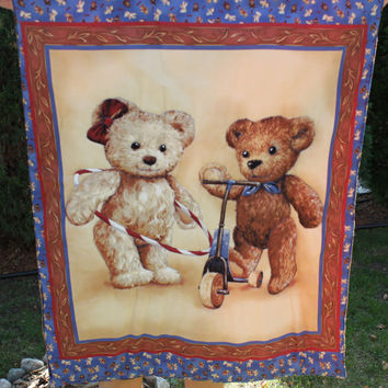 Ready to be shipped/ Handmade Hand Quilted Baby Blanket The Two Teddy Bears