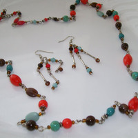 Jewelry Set, Necklace Earring Set, Coral Brown and Aqua Necklace and Earrings,
