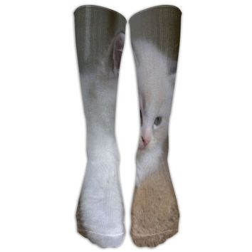 Cat Novelty Cotton Knee High All-Over Printed Socks