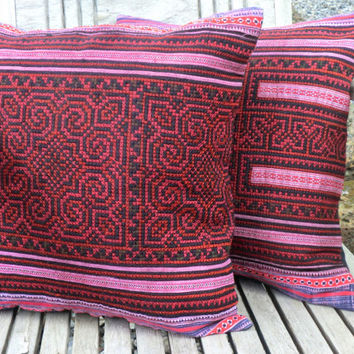 Boho Pillows Embroidered Deep Red And Black Hmong Cushion Cover 16 inch