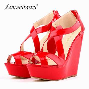 LOSLANDIFEN Women Pumps Patent Platform Peep Toe Wedges High Heel Shoes Women Wedding Shoes SIZE US 4-11  391-10PA