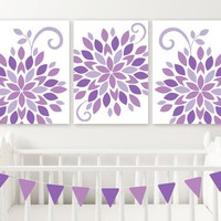 Purple Nursery Wall Art, Baby Girl Nursery Flower Decor, Canvas or Prints, Purple Flower Bedroom Pictures, Set of 3 Girl Crib Decor Pictures