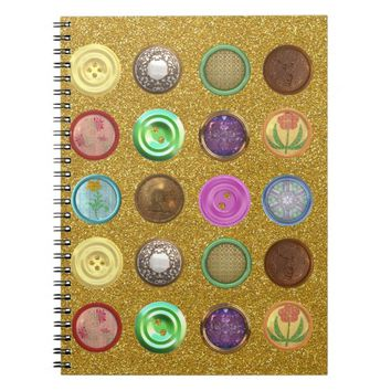 buttons collection spiral notebook
