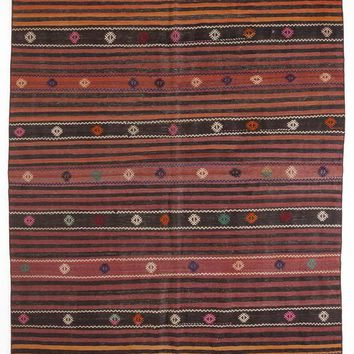 Handmade  Unique Striped Over Dyed Kilim Rug 6'4'' x 10'2'' ft 193 x 310 cm (Free Shipping)