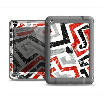 The Red-Gray-Black Abstract V3 Pattern Apple iPad Mini LifeProof Nuud Case Skin Set