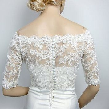 White Boat Neck Beaded Lace Half Sleeves Lace Bridal Bolero Wedding Accessories Off shoulder Wedding Jacket