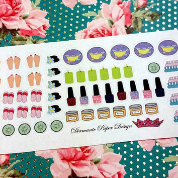 54 kiss cut and ready to peel off Spa Stickers! Perfect for your Erin Condren Life Planner, Filofax, Kikkik, Plum Paper