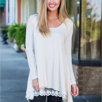 White Long Sleeve Laced Hem Top