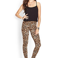 FOREVER 21 Leopard Print Leggings Black/Brown