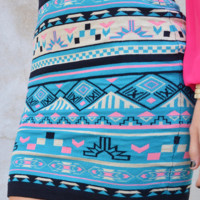 To The Moon Skirt: Blue/Multi