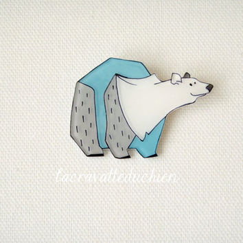 Polar Bear Brooch, Animal Brooch, winter jewelry