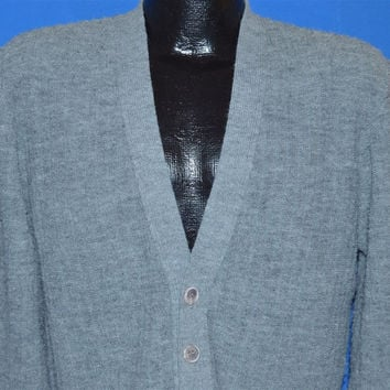 80s Campus Gray Boucle Cardigan Sweater Small