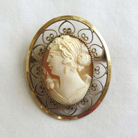 Vintage Catamore signed Gold Filled Carved Lady Cameo Brooch or Pin