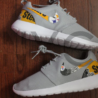 Pittsburgh Steelers Nike Roshe Run Grey Custom Men
