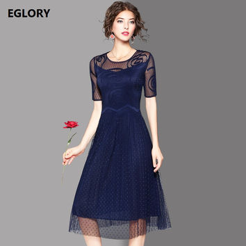 High Quality New 2017 Spring Summer Dress Women Polka Dot Patterns Short Sleeve Mid-Calf Length Dark Blue Green Red Mesh Dress