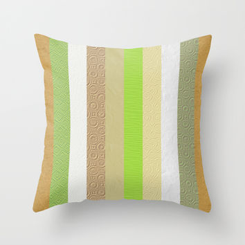 Vintage embossed paper stripes collage Throw Pillow by Natalia Bykova