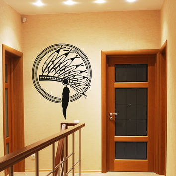 Vinyl Wall Decal Sticker Native American Headpiece #OS_AA397