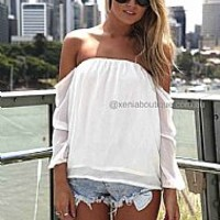 PRE ORDER - OFF THE SHOULDER TOP (Expected Delivery 15th March, 2014) , DRESSES, TOPS, BOTTOMS, JACKETS & JUMPERS, ACCESSORIES, 50% OFF SALE, PRE ORDER, NEW ARRIVALS, PLAYSUIT, COLOUR, GIFT VOUCHER,,White,STRAPLESS Australia, Queensland, Brisbane